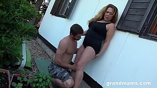 Dirty Grandma Makes Me Cum in the Backyard