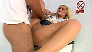 Blonde whore takes cocks in the glory hole