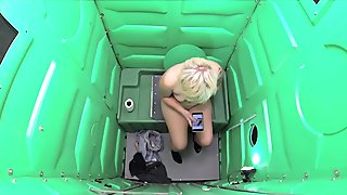 Porta Gloryhole Blonde girl swallows cum in public