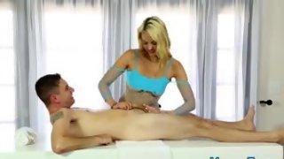 Massage therapist cummed