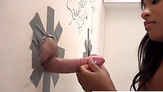 My girlfriend sister Monique Symone playing on my cock at glory hole without knowing who I am