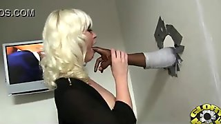 Black Chick Gives Gloryhole Blowjob 21