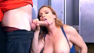 Slutty Cougar Sucks Glory Hole Cock