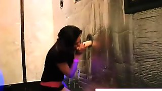 Party girls suck cock at  gloryhole
