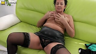 Hot busty granny playing on the couch