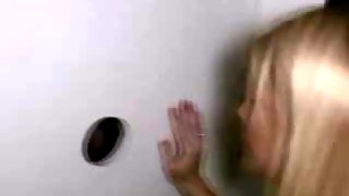 Pretty Blonde Girl With Perfect Tits Sucks At Glory Hole