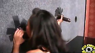 Hot couple having oral sex in gloryhole interracial 11