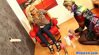 Strapon femdom toys lesbian at gloryhole