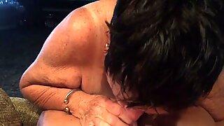 Grandma giving blowjob POV