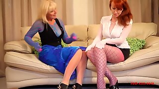 red hardcore and her girlfriend get insatiable in nylons