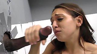 Glory hole interracial facial sex