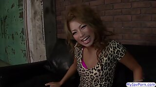 Japanese Rumika gets her pussy toyed and fucked on couch