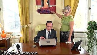 LustyGrandmas BBW GILF Cleans His Office and His Cock