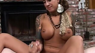 Sizzling momma Mona Love receives a glaze of cock sauce on her face