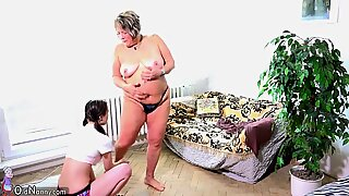 OldNanny Old fat mom is playing with teen and sextoy