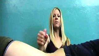 blonde teen handjob