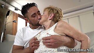 Tongued old slut facial
