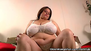 mother gets crazy in nylon stocking