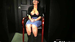 Curvy Latina in Gloryhole booth swallows