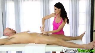 Skinny masseuse facial