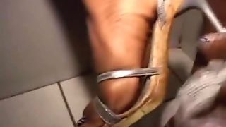 Lovely Black Girl On Her Knees Sucking White Cock At Glory Hole