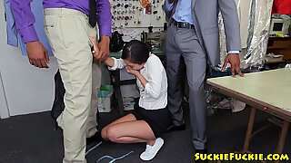 Small asian tailor anal spitroasted in trio