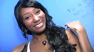 Black girl sucking their first white cock in Gloryhole 30