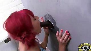Ebony Hottie Milking Cocks in the Gloryhole 13