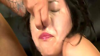 Japanese woman extreme mouth fuck