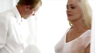 Bukkake gloryhole fetish slut drenched in fake cum video 3