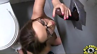 babe sucks and fucks black cock at Gloryhole 19