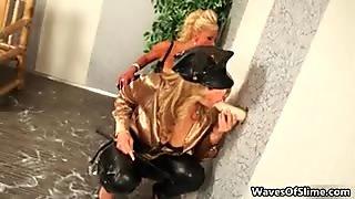 Nasty blonde whores get horny jerking