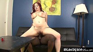 Redhead BBW Destiny Rose sucks cock before IR dicking