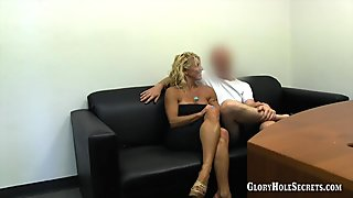 Blonde glory hole slut sucks a strangers big sweet dick