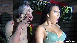 bts on Asa Akira's zombie Halloween set