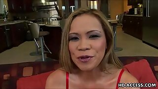 Sexy Asian MILF takes anal pounding