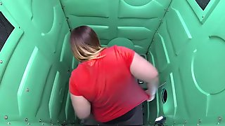 BBW chick sucks off port gloryhole on a hidden cam video
