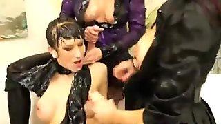 Horny bukkake lesbians get nasty