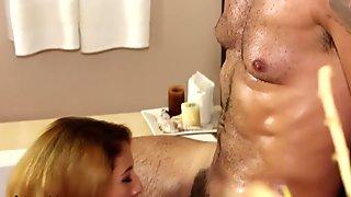 Bukkake gloryhole fetish slut drenched in fake cum video